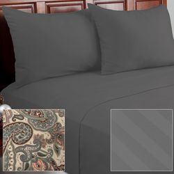 Cozelle 12Piece Solid/Striped/Paisley Microfiber Sheet Set - Platinum/Full