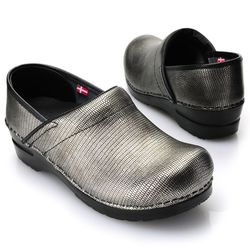 "Sanita ""Dream"" Women's Snake Embossed Leather Clogs - Steel - 39 (US8-8.5)"