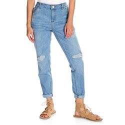 Indigo Thread Women's Woven Denim Deconstructed Jeans - Light Wash/14