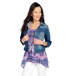 Women's Stretch Denim 3/4 Sleeve Jacket & Printed Top Set -Light Indigo -L