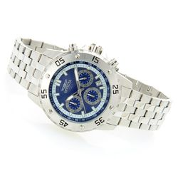 Men's 46mm Elite Diver Quartz Chronograph Bracelet Watch - Silvertone/Blue