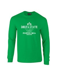 NCAA Delta State Statesmen Stacked Vintage Long Sleeve T-Shirt, Small, Irish Green
