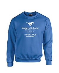 NCAA Smu Mustangs Stacked Vintage Crew Neck Sweatshirt, Medium, Royal