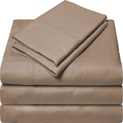 Exclusive Cotton Solid Sheet Set - Taupe - Size: King