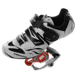 Venzo Road Bike for Shimano SPD SL Look Bicycle Shoes - White - Size: 46