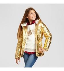 Cat & Jack Girls' Short Puffer Jacket - Gold - Size: XL