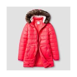Cat & Jack Girl's Long Puffer Jacket - Pink - Size - Large