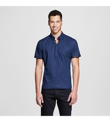 Men's Short Sleeve Button Down Shirt - Navy