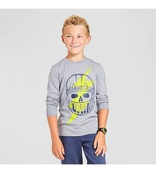 Cat & Jack Boys' Long Sleeve Graphic T-Shirt Cloudy Skull - Grey Size: L