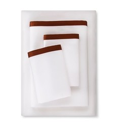 Fieldcrest Banded Hem Supima Sateen Sheet Set - Brown - Size: Queen