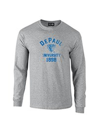 NCAA Depaul Blue Demons Mascot Block Arch Long Sleeve T-Shirt, XX-Large, Sport Grey