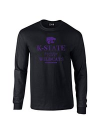 NCAA Kansas State Wildcats Stacked Vintage Long Sleeve T-Shirt, Large, Black