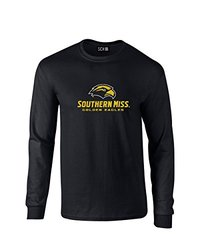 NCAA Southern Mississippi Golden Eagles Mascot Foil Long Sleeve T-Shirt, Small, Black