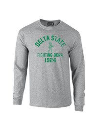 NCAA Delta State Statesmen Mascot Block Arch Long Sleeve T-Shirt, Large, Sport Grey