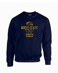NCAA Kent State Golden Flashes Stacked Vintage Crew Neck Sweatshirt, Medium, Navy