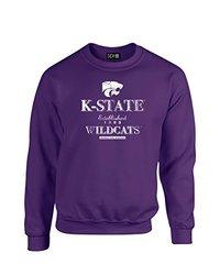 NCAA Kansas State Wildcats Stacked Vintage Crew Neck Sweatshirt, Small, Purple