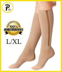 NEW Open Toe Knee Length Zipper Up Compression Hosiery Calf Leg Support Stocking (L/XL, Beige)