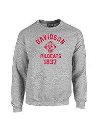 NCAA Davidson Wildcats Mascot Block Arch Crew Neck Sweatshirt, Small, Sport Grey