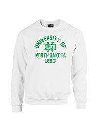 NCAA North Dakota Mascot Block Arch Crew Neck Sweatshirt, Small, White