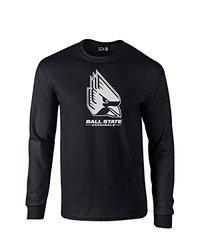 NCAA Ball State Cardinals Mascot Foil Long Sleeve T-Shirt, Small, Black