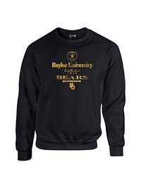 NCAA Baylor Bears Stacked Vintage Crew Neck Sweatshirt, Large, Black