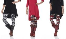 Holiday Print Leggings: Red-white