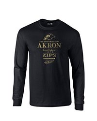 NCAA Akron Zips Stacked Vintage Long Sleeve T-Shirt, Medium, Black