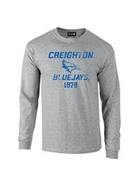 NCAA Creighton Bluejays Mascot Block Arch Long Sleeve T-Shirt, Large, Sport Grey