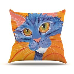 "Kess InHouse Padgett Mason ""Tell Me More"" Outdoor Throw Pillow, 18 by 18-Inch"