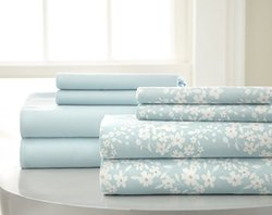 8-piece Microfiber Sheet Set - Floral Aqua Blue - Size: King