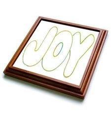 "3dRose trv_17556_1 Colorful Outline of Word Joy Trivet with Ceramic Tile, 8 by 8"", Brown"