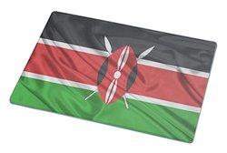 Rikki Knight RK-LGCB-1706 Kenya Flag Glass Cutting Board, Large, White