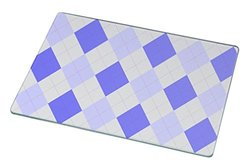 Rikki Knight Blue Argyle on Grey Glass Cutting Board - White