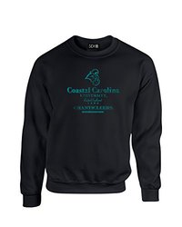 NCAA Coastal Carolina Chanticleers Stacked Vintage Crew Neck Sweatshirt, Large, Black