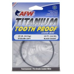 American Fishing Titanium Tooth Proof Single Strand Leader Wire, Black, 10-Pound Test/15-Feet