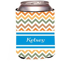 "Rikki Knight ""Kelsey Blue Chevron Name Design"" Beer Can"