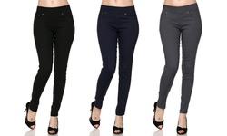 Women's 3-Pack Slimming Skinny Pants - Black/Navy/Grey - Size: S/M