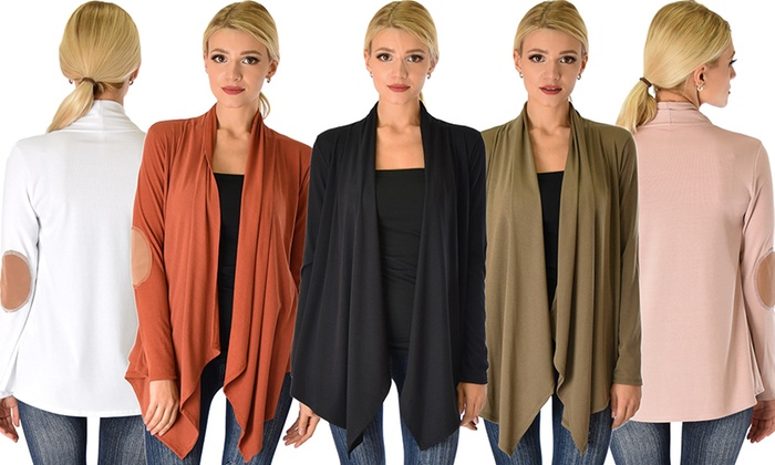Womens Ribbed Cardigan Suede Elbow Patch Sweater Olive Large