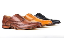 Gino Vitale Men's Wing Tip Brogue Oxfords Shoes: Brown - 9