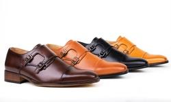 Gino Vitale Men's Monk Strap Dress Shoes: Black/10