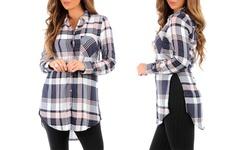 Women's Plaid Long Button Down Tunic - Dark Blue - Size: Large