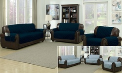 Reversible Ashford Water-Resistant Microfiber Sofa Cover - Navy/Slate Blue