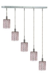 Elegant Lighting 1385D-O-R-RO/RC Mini 8-Inch High 5-Light Chandelier, Chrome Finish with Rosaline (Pink) Royal Cut RC Crystal