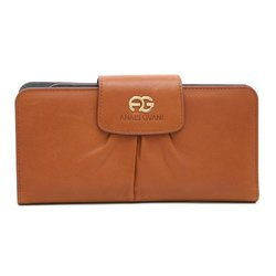 Dasein Women's Pleated Bi-fold Genuine Leather Wallet: Brown-gray