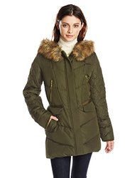 Kensie Women's  Faux Fur Collar Coat  - Olive - Size: Large