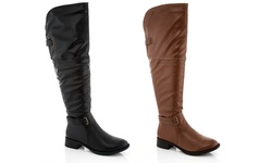Rasolli Brenda Women's Over the Knee Riding Boot - Black - Size: 10