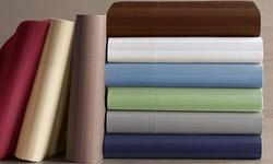 1000tc Egyptian Cotton & Polyester Sheet Set: Stripe Gray/full