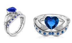 4 CTTW Heart Cut Sapphire Claddagh Ring & Band Set - Size: 6
