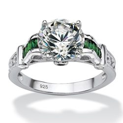 4.19 TCW Round Cubic Zirconia & Simulated Emerald Ring - Size: 5