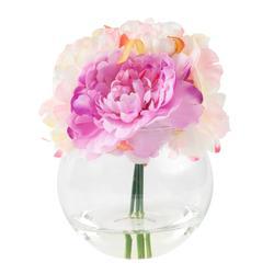 Pure Garden 7.5 in. Peony Floral Pink Arrangement
